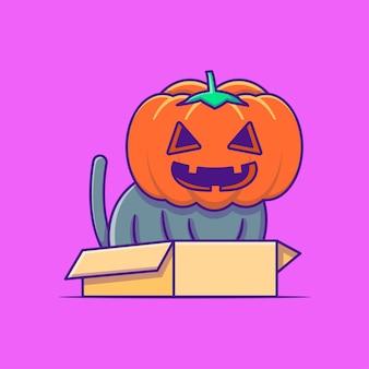 Nette schwarze katze mit kürbiskostüm glückliche halloween-karikaturillustrationen