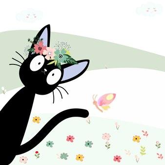 Nette schwarze katze und ihre blumenkronenkarikatur
