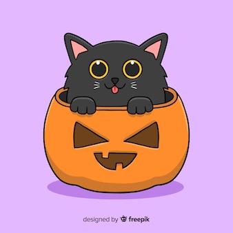 Nette schwarze miezekatze-halloween-hand gezeichnet