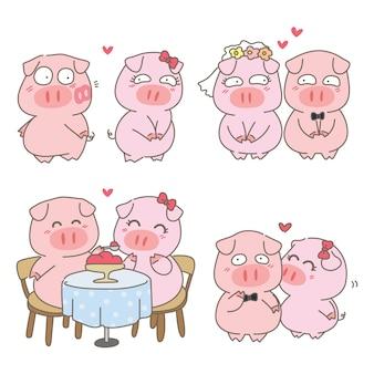 Nette schweinpaare im liebescharakterdesign