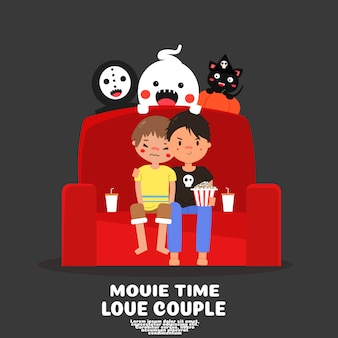 Nette schwule paare sehen horrorfilme im hauskarikatur .lgbt liebeskonzept. glücklicher halloween-tag.