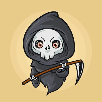 Nette sensenmann-halloween-illustration