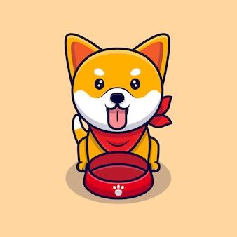 Nette shiba inu hund hungrig cartoon icon illustration