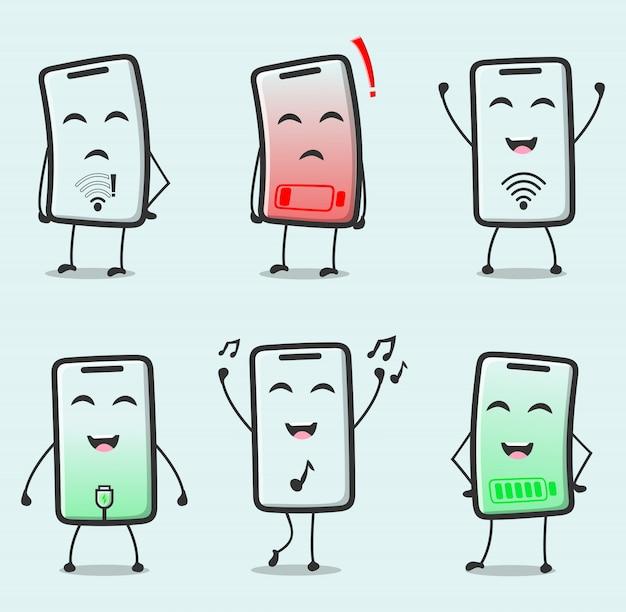 Nette smartphone-zeichentrickfigur
