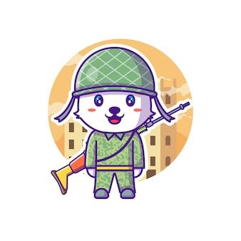 Nette soldat-armee-maskottchen-karikatur-illustration