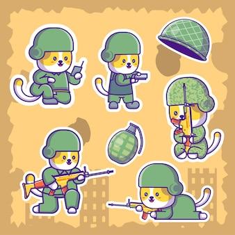 Nette soldaten-armee-karikatur-illustrations-aufkleber
