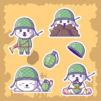 Nette soldaten-armee-karikatur-illustrationsaufkleber