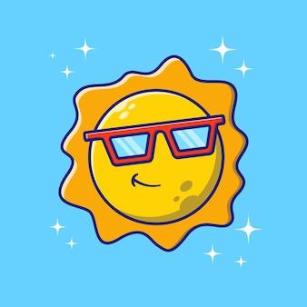 Nette sonne mit sonnenbrille