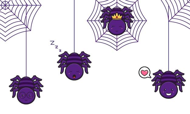 Nette spinne, die am webikonenkarikaturillustrationsdesign lokalisierte flache karikaturart hängt