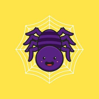 Nette spinne hängt an der te webkarikaturikonenillustration. entwerfen sie isolierten flachen cartoon-stil