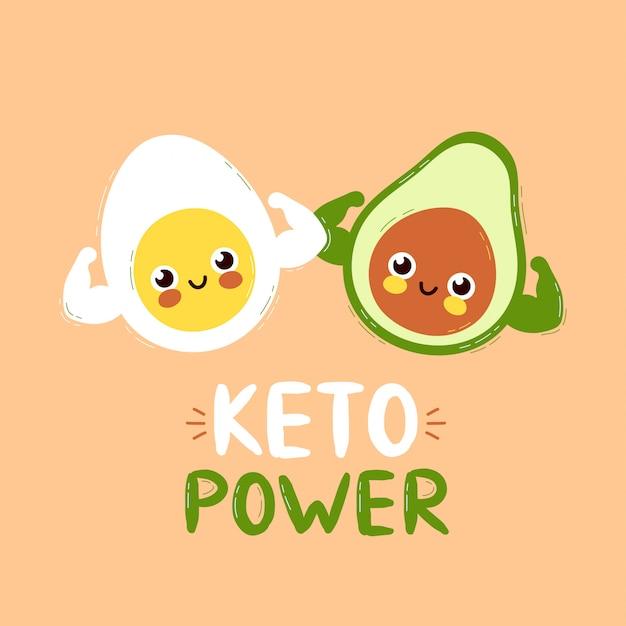 Nette stark lächelnde glückliche avocado und ei zeigen muskelbizeps. keto power card design.vector flache karikatur charakter illustration icon design. isoliert auf weißem hintergrund. avocado-charakterkonzept