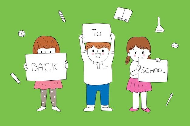 Nette studenten der karikatur zurück zu schulvektor.