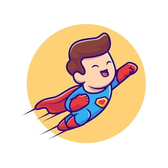 Nette superhelden-fliegende cartoon-illustration. people profession icon konzept