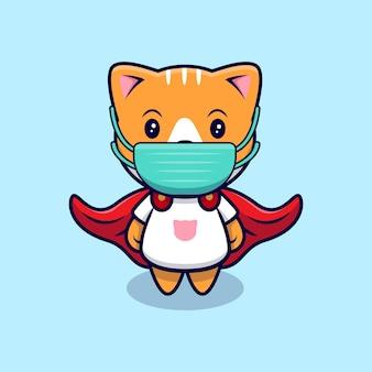 Nette superheldenkatze, die medizinische maske cartoon icon illustration trägt. flacher cartoon-stil