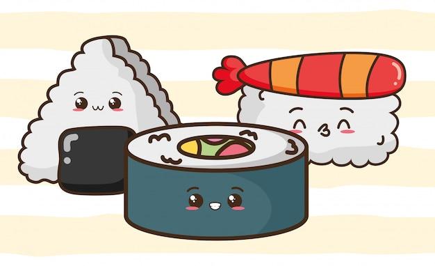 Nette sushi kawaii-schnellimbisses, asiatische lebensmittelillustration