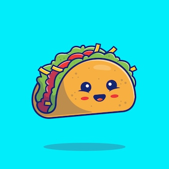 Nette taco maskottchen illustration. lebensmittel cartoon charakter isoliert konzept. flacher cartoon-stil