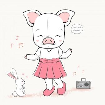 Nette tanzenschweinkarikatur hand gezeichnete vecter illustration.