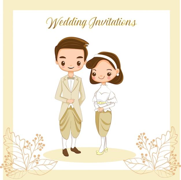 Nette thailändische braut und bräutigam für hochzeitseinladungskarte