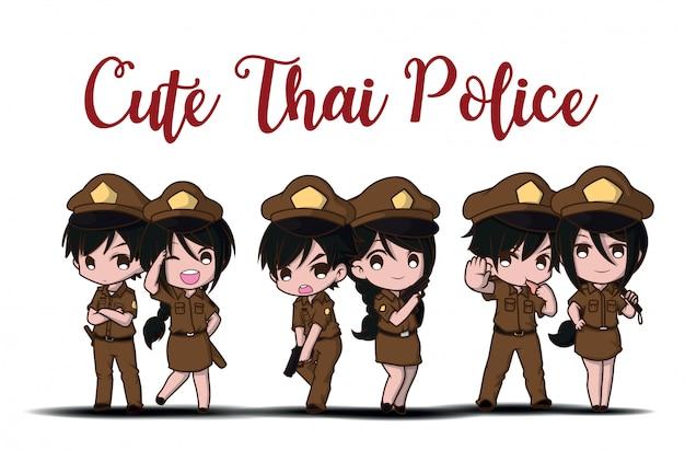 Nette thailändische polizei, die in der uniform steht glücklich arbeitet