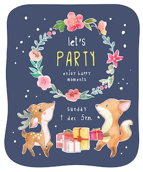 Nette tier-party-karte mit blumenkranz-illustration