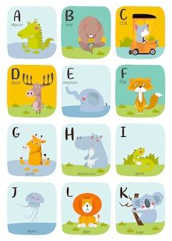 Nette tieralphabetillustration. alphabet druckbare karteikarten sammlung mit buchstaben a bis k.