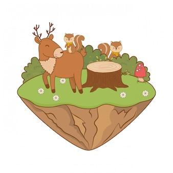 Nette tiere auf dem gebiet waldcharaktere