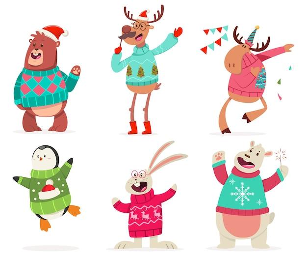 Nette tiere auf der party in einem hässlichen weihnachtspullover