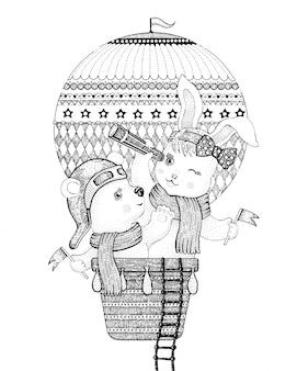 Nette tiere, bär und kaninchen, fliegend in heißluftballon, gekritzelvektorillustration.