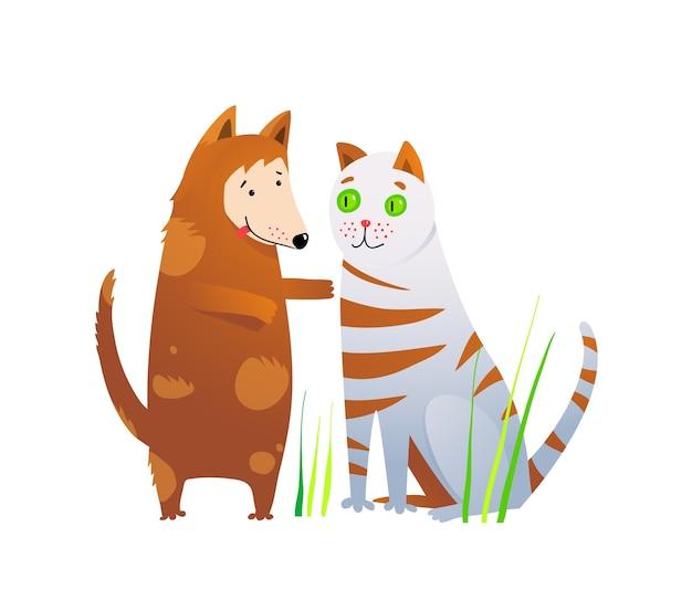 Nette tiere befreundet katzen- und hundekarikatur
