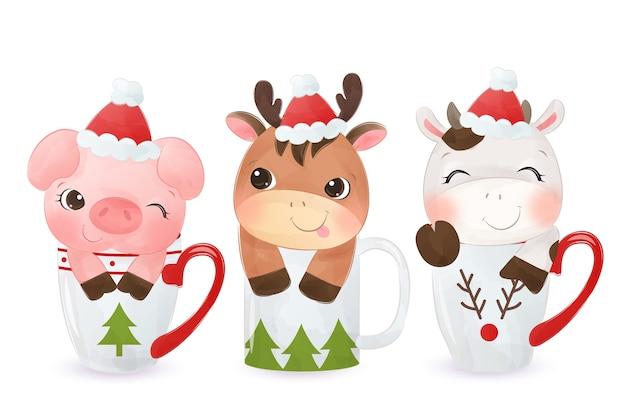 Nette tiere, die auf tasse sitzen und weihnachtsmütze tragen