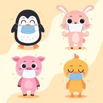 Nette tiere, die gesichtsmasken tragen