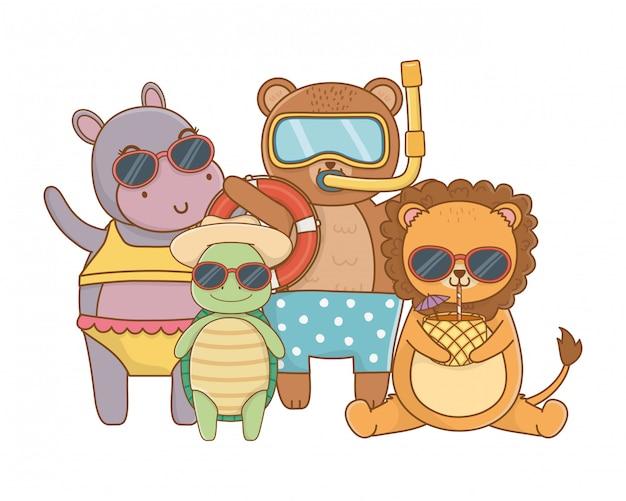 Nette tiere, die sommerferien genießen
