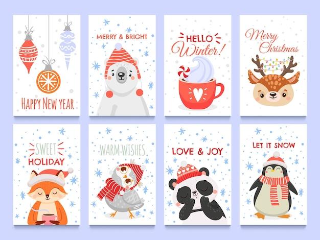Nette tiere weihnachtskarten. vektorweihnachtswinter, feiertagsdekoration mit tieren tragen fuchs und eulenillustration