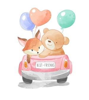 Nette tierfreunde auf cabrioauto mit bunten luftballons
