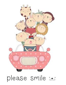Nette tierkarikatur mit gezeichneter art des autos hand