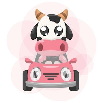 Nette tierkuh mit auto-maskottchen-karikatur