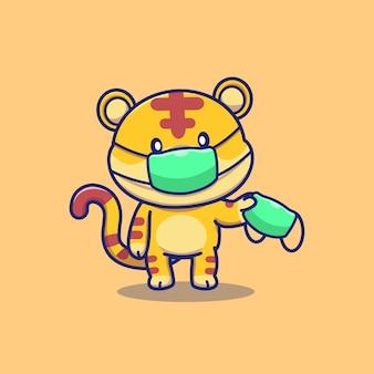 Nette tiger tragen maske cartoon icon illustration. tier maskottchen charakter. gesundheitstier-symbol-konzept isoliert