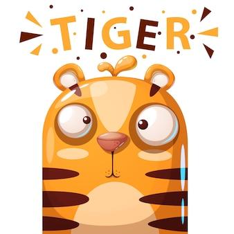 Nette tigercharakter-karikaturillustration