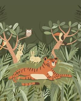 Nette tigerillustration entspannen sich im wald