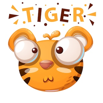 Nette tigerillustration. zeichentrickfiguren.