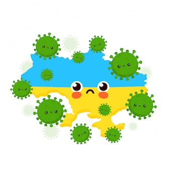 Nette traurige ukraine angegriffen coronavirus-infektion. flache art cartoon charakter illustration