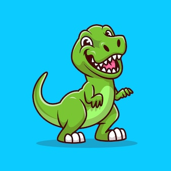 Nette tyrannosaurus lächelnde karikatur-symbol-illustration. tier-dinosaurier-symbol-konzept isoliert. flacher cartoon-stil