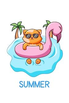 Nette und coole katze, die in der sommerkarikaturillustration schwimmt