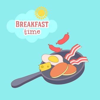 Nette und einfache rahmenillustration mit omelett, olivenöl, eiern, milch, salz, zwiebel, pilzen