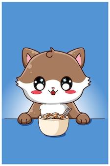 Nette und glückliche katze, die eine nudelkarikaturillustration isst