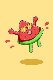 Nette und glückliche wassermelone in der sommerkarikaturillustration
