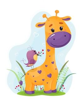 Nette und helle giraffe mit einem vogel. illustration im flachen stil der karikatur. kinderillustration auf einem weißen hintergrund