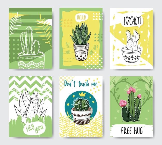Nette und kreative kaktuskartenschablone mit hand gezeichneter art