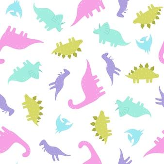 Nette und lustige dinosaurier. nahtloses muster