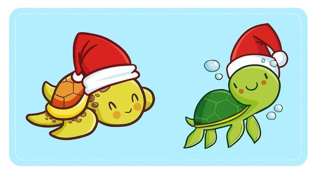 Nette und lustige kawaii babyschildkröte, die weihnachtsmannmütze für weihnachten schwimmt und lächelt